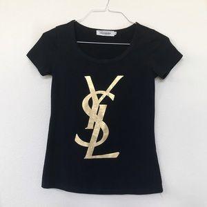 YSL Gold Logo Lettering Scoop Neck Top